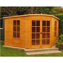 INSTALLED 10ft x 10ft (2.99m x 2.99m) - Premier Corner Wooden Summerhouse - 2 Opening Windows - 12mm T&G Walls - Floor - Roof