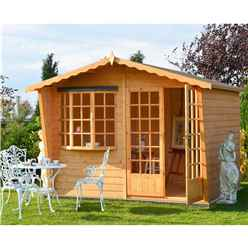 INSTALLED 10ft x 6ft (3m x 1.79m) - Wooden Apex Summerhouse - Bay Window - Double Doors - 12mm Tongue And Groove Floor & Roof