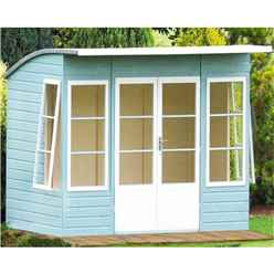 INSTALLED 10ft x 6ft (2.99m x 1.79m) - Tongue And Groove - Pent Wooden Summerhouse - 4 Windows - Double Doors -  12mm Tongue And Groove Floor