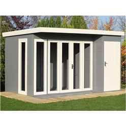 INSTALLED 12ft x 8ft (3.59m x 2.39) - Tongue And Groove - Pent Wooden Summerhouse - 4 Windows - Double Doors (12mm Tongue And Groove Floor & Roof)