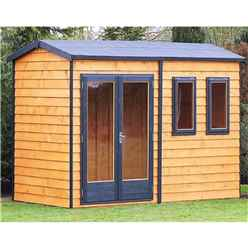 INSTALLED 10ft x 10ft (3.02m x 3.15m) - Premier Reverse Wooden Studio Summerhouse - 2 Windows - Double Doors - 20mm T&G Walls