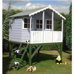 INSTALLED 6ft x 4ft (1.79m x 1.19m) - Wooden Stork Playhouse With Platform