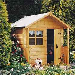 5ft x 4ft (1.48m x 1.42m) - Wooden Club Playhouse - 12mm Tongue & Groove - 1 Fixed Window - Single Door - Apex Roof