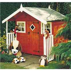 6ft x 4ft (1.78m x 1.72m) - Wooden Hobby Playhouse - 12mm Tongue & Groove - 2 Fixed Windows - Single Door - Apex Roof