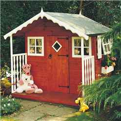 INSTALLED 6ft x 6ft (1.79m x 1.79m) -  Wooden Den Playhouse Including Veranda