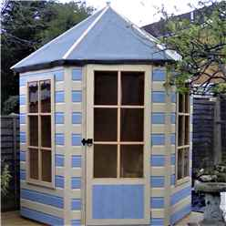 INSTALLED 6ft x 7ft (1.87m x 1.87m) - Premier Pressure Treated Hexagonal Wooden Summerhouse - Single Door - 12mm T&G Walls & Floor