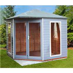8ft x 8ft (2.5m x 2.5m) - Premier Corner Wooden Summerhouse - Double Doors - Side Windows - 12mm T&G Walls and Floor