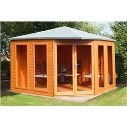 INSTALLED 10ft x 10ft (3.16m x 3.16m) - Premier Corner Wooden Summerhouse - Double Doors - Side Windows - 12mm T&G Walls and Floor
