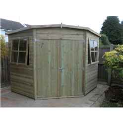 INSTALLED 8ft x 8ft (2.25m x 2.25m) - Pressure Treated Tongue And Groove - Corner Shed - 2 Opening Windows - Double Doors - 12mm Tongue And Groove - INSTALLATION INCLUDED