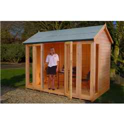 INSTALLED 10ft x 8ft (2.99m x 1.79m) - Premier Wooden Summerhouse - Bifold Doors - 12mm T&G Walls - Floor - Roof