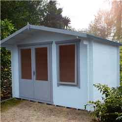 INSTALLED - 3.3m x 2.4m Premier Log Cabin With Half Glazed Double Doors and Single Window + Free Floor & Felt (19mm)