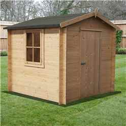 INSTALLED - 2.7m x 2.7m Premier Apex Log Cabin With Single Door and Opening Window + Free Floor & Felt (19mm)