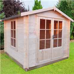 INSTALLED - 2.7m x 2.7m Premier Apex Log Cabin With Double Doors and Side Window + Free Floor & Felt (19mm)