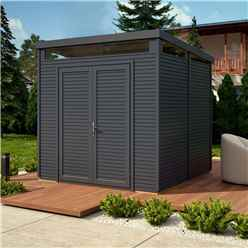 8ft x 8ft Pent Security Shed - Painted Anthracite - Double Doors - 19mm Tongue and Groove