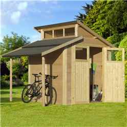 7ft x 10ft Skylight Shed With Lean To - Double Doors -19mm Tongue and Groove Walls, Floor + Roof
