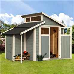 7ft x 10ft Skylight Shed Store - Double Doors -19mm Tongue and Groove Walls, Floor + Roof - Painted With Light Grey
