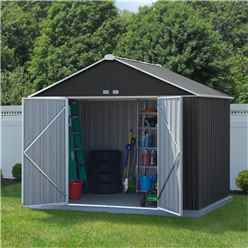 8ft x 10ft (2.18m x 2.99m) Double Door Galvanised Steel Metal Shed