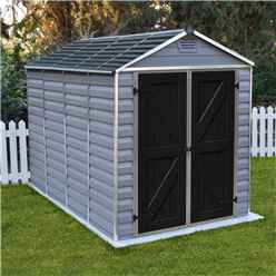 INSTALLED 10ft x 6ft (3.03m x 1.85m) Double Door Apex Plastic Shed with Skylight Roofing INCLUDES INSTALLATION