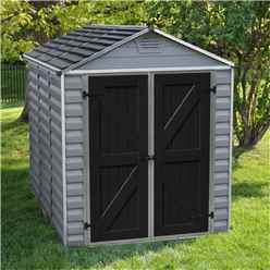 INSTALLED 8ft x 6ft (2.28m x 1.85m) Double Door Apex Plastic Shed with Skylight Roofing INCLUDES INSTALLATION