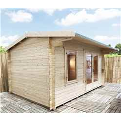 INSTALLED 3.0m x 4.2m Premier Reverse Apex Home Office Log Cabin (Single Glazing) - Free Floor & Felt (28mm) - INSTALLATION INCLUDED