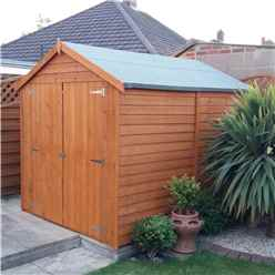 INSTALLED 8ft x 6ft (2.39m x 1.82m) - Dip Treated Overlap -  Apex Garden Shed - Windowless - Double Doors - 10mm Solid OSB Floor