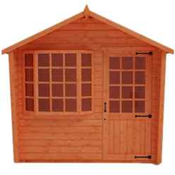 8ft x 10ft Bay Window Summerhouse (12mm Tongue and Groove Floor and Apex Roof)
