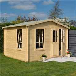 3.4m x 3m  Retreat Apex Log Cabin - 19mm Wall Thickness