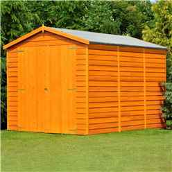 10ft x 6ft (2.99m x 1.79m) - Windowless Dip Treated Overlap - Apex Garden Shed - Double Doors - 11mm Solid OSB Floor
