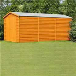 15ft x 10ft Windowless Dip Treated Overlap Apex Wooden Garden Shed With Double Doors (11mm Solid OSB Floor)