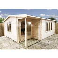 INSTALLED 4m x 5.7m Premier Home Office Apex Log Cabin (Single Glazing) - Free Floor & Felt (44mm)