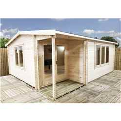 INSTALLED 4.8m x 5.4m Premier Home Office Apex Log Cabin (Single Glazing) - Free Floor & Felt (34mm)
