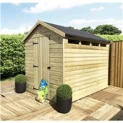8FT x 8FT Security Pressure Treated Tongue & Groove Apex Shed + Single Door + Safety Toughened Glass