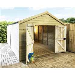 18FT x 11FT WINDOWLESS PREMIER PRESSURE TREATED TONGUE & GROOVE APEX WORKSHOP + HIGHER EAVES & RIDGE HEIGHT + DOUBLE DOORS (12mm Tongue & Groove Walls, Floor & Roof) + SAFETY TOUGHENED GLASS