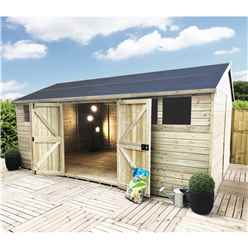 14FT x 12FT REVERSE PREMIER PRESSURE TREATED TONGUE & GROOVE APEX WORKSHOP + 2 WINDOWS + HIGHER EAVES & RIDGE HEIGHT + DOUBLE DOORS (12mm Tongue & Groove Walls, Floor & Roof) + SAFETY TOUGHENED GLASS