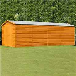 INSTALLED 20ft x 10ft (6.05m x 2.99m) Windowless Dip Treated Overlap Apex Wooden Garden Shed With Double Doors (11mm Solid OSB Floor) INSTALLATION INCLUDED