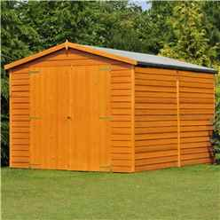 INSTALLED 12ft x 8ft (3.59m x 2.39m) - Windowless Dip Treated Overlap - Apex Garden Shed - Double Doors - 11mm Solid OSB Floor