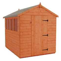 8ft x 6ft Tongue and Groove Apex Shed With 4 Windows and Single Door (12mm Tongue and Groove Floor and Roof)
