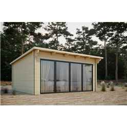 INSTALLED 5m x 4m Sliding Door Pent Log Cabin - Double Glazing (68mm Wall Thickness)