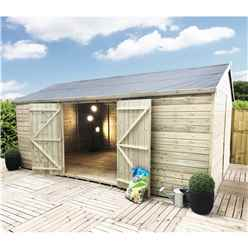 26FT x 13FT WINDOWLESS REVERSE PREMIER PRESSURE TREATED TONGUE & GROOVE APEX WORKSHOP + HIGHER EAVES & RIDGE HEIGHT + DOUBLE DOORS + SAFETY TOUGHENED GLASS
