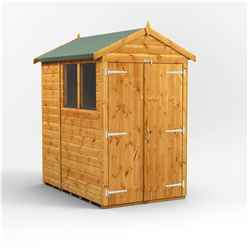 6ft x 4ft Premium Tongue and Groove Apex Shed - Double Doors - 2 Windows - 12mm Tongue and Groove Floor and Roof