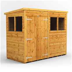 8ft x 4ft Premium Tongue and Groove Pent Shed - Double Doors - 4 Windows - 12mm Tongue and Groove Floor and Roof