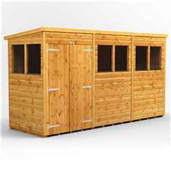 12ft x 4ft Premium Tongue and Groove Pent Shed - Double Doors - 6 Windows - 12mm Tongue and Groove Floor and Roof