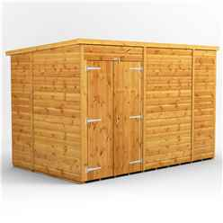 10ft x 6ft Premium Tongue and Groove Pent Shed - Double Doors - Windowless - 12mm Tongue and Groove Floor and Roof