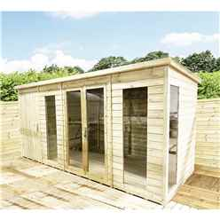 INSTALLED 14ft x 6ft COMBI Pressure Treated Tongue & Groove Pent Summerhouse with Higher Eaves and Ridge Height + Side Shed + Toughened Safety Glass + Euro Lock with Key - INCLUDES INSTALLATION