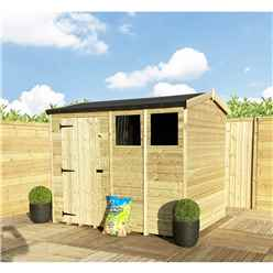 """8FT x 6FT **Flash Reduction** REVERSE Super Saver Pressure Treated Tongue & Groove Apex Shed + Single Door + High Eaves (70"""") + 2 Windows"""
