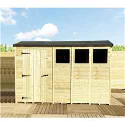 """11FT x 4FT **Flash Reduction** REVERSE Super Saver Pressure Treated Tongue And Groove Single Door Apex Shed (High Eaves 74"""") + 3 Windows"""