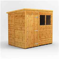 7ft x 5ft Premium Tongue And Groove Pent Shed - Single Door - 2 Windows - 12mm Tongue And Groove Floor And Roof