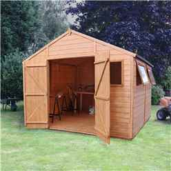 10ft x 10ft (3.11m x 3.05m) Deluxe Tongue & Groove Workshop with Double Doors + 4 Windows (12mm T&G Floor)