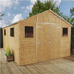 12ft x 10ft Deluxe Tongue & Groove Workshop With Double Doors + 4 Windows (12mm T&G Floor)