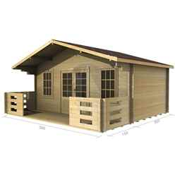 5m x 3m Premier Meribel Log Cabin - Double Glazing - 34mm Wall Thickness